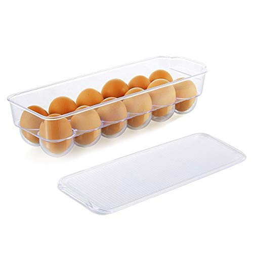 Egg Tray Holder with Lid- Refrigerator Storage Container, 12 Egg Tray (Clear)