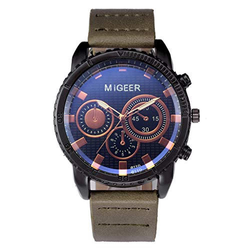 Wrist Watch for Men Waterproof Leather MIGEER High-End Fashion Stainless Steel Watch Analog Alloy Quartz Watch