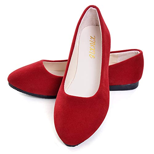 Dear Time Women Flat Shoes Comfortable Slip on Pointed Toe Ballet Flats Red 41]()