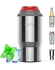 4-in-1 Insulator Can Cooler Double Walled Stainless Steel Can Insulator Beer Holder for Standard/Tall Skinny Slim Cans Skinny Cans, Works with 12 Oz, 16 Oz Cans,Beer Bottles