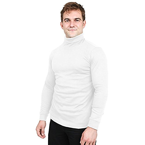 Utopia Wear Special Comfort Fit Turtleneck Shirt - Premium Cotton Blend Interlock Fabric - Long Sleeves - Machine Washable and Ultra Comfortable - Attractive and Trendy, Large (White)