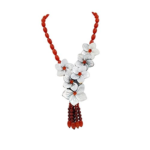 Flowers Jade Necklace - Shell Flowers,Red Agate,New Jade Tassel Necklace Approx 19.5