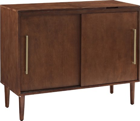 Sideboard Cabinet Hinged Top Reveals Space for Component Turntable Storage Space Behind Sliding Doors Metal Hardawre Wood Material in Rectengular Shape with Brass Mahogany Finish Furniture by GAShop