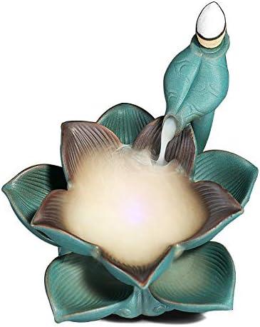Incense Burner Lotus Leaf Aromatherapy Incense Cones Burner Incense Stick Holder Porcelain Ceramic Backflow Incense Burner 10 Free Cones Home Decoration Handicraft Gift Backflow Incense Holder Censer