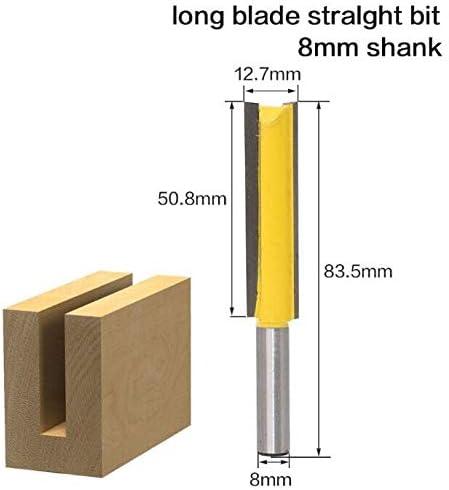 """NO LOGO ZZB-ZT, 1 STÜCK 8mm Schaft 1/2""""Bx2 H Lange Gerade Fräser T Slot Holzbearbeitung Fräser Werkzeug for Power (Size : As Show)"""