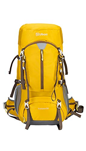 Ubon Light Hiking Backpack 50L Camping Backpack Internal Frame for with Rain Cover Yellow
