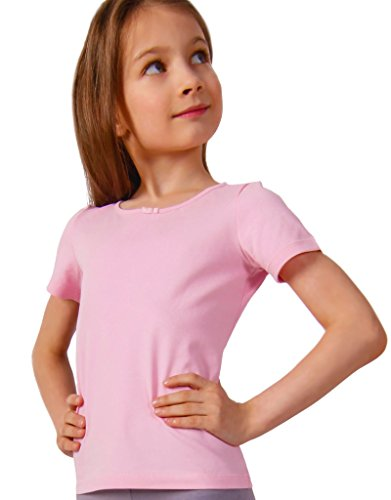 Petite Amelia Little Girls Short Sleeve Bow Tie Top, Size 7, Light Pink ()