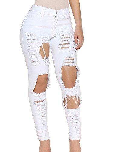 Pantalones Slim blanco Agujero Alta Mujer Elástico Vaqueros Cintura Vaqueros Irregular Para 117xH