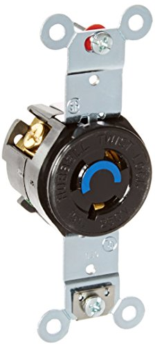 (Hubbell Wiring Systems HBL4560 RTP Face Twist-Lock Single Receptacle, 15 Ampere, 250V, 2-Pole, 3-Wire Grounding, Brown)