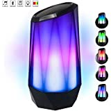 Portable Wireless Bluetooth Speaker Bluetooth 4.2 Bass Stereo with LED Lights RGB Speaker, Built-in Mic, AUX Hands Free TF Card for All Bluetooth Devices, Indoor Outdoor Compact Wireless Speakers