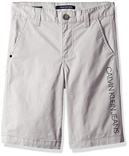 - Calvin Klein Boys' Big Icon Stretch Twill Short, Stone, 8