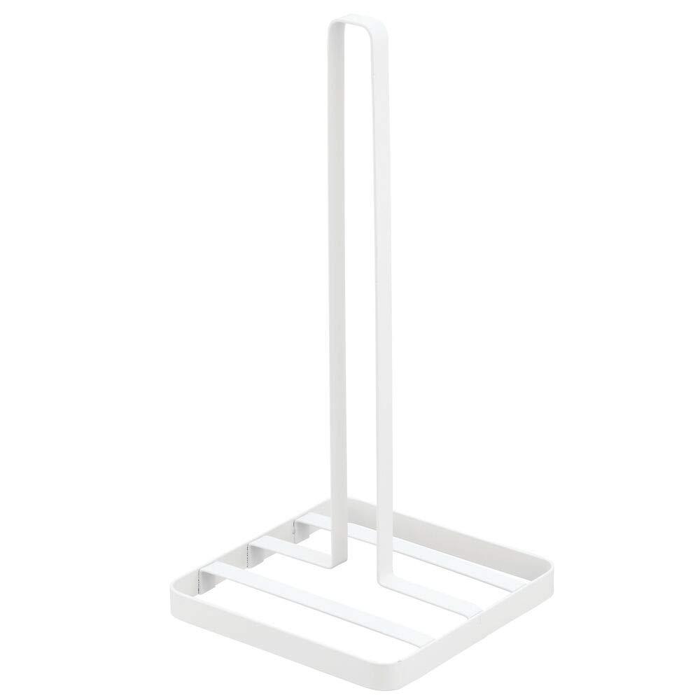 Elegante porta rollo de cocina con base Pr/áctico soporte para papel de cocina mDesign Portarrollos de cocina sin taladro blanco