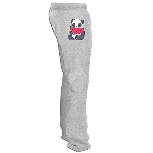 Price comparison product image Yesher Men's Panda And A Watermelon Long Workout Pants - Ash L