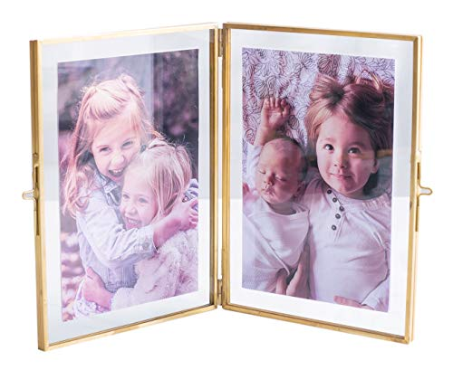 Levilan Double Picture Frames Gold Double Pictures Frame with Pressed Glass Photo Frame, Brass (4
