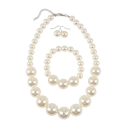 """KOSMOS-LI Women's Large Big Simulated Pearl Statement 19"""" Necklace Bracelet  and Earrings Jewelry Set - Buy Online in French Polynesia. 