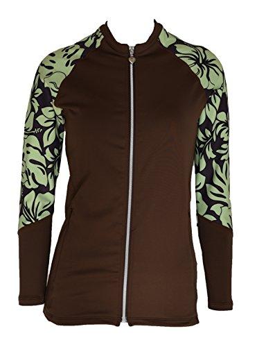 Private Island Hawaii Women UV Wetsuits Long Raglan Sleeve Rash Guard Top Zipper Jacket (Large, Brown With - Brown Female Green