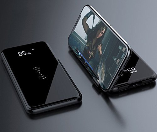 lean 10000mAh wireless network Charger strength Bank LED exhibit super present day pattern and design for iphoneX iPhone 8 Galaxy S9 S8 etc by Sawm Black External Battery Packs