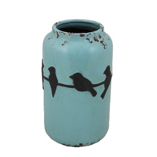 - Essential Décor Entrada Collection Birds Ceramic Vase, 6.3 by 10.83-Inch, Blue with Black