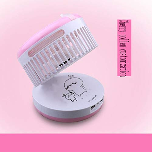 AB Mini Fan Humidifier Spray Cooling Bed Student Dormitory USB Rechargeable Portable Small Electric Office Desktop Desktop Fan Large Wind Mute (Color : Pink Lettering Edition)