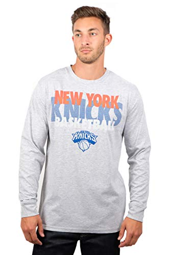Ultra Game NBA New York Knicks Men's Supreme Long Sleeve Pullover Tee Shirt, Medium, Gray