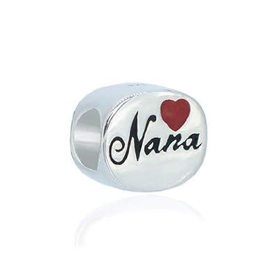 da426313e Amazon.com: Everbling I Love Nana Heart Grandma Family 925 Sterling Silver  Bead Fits European Charm Bracelet (Nana Red Heart): Jewelry