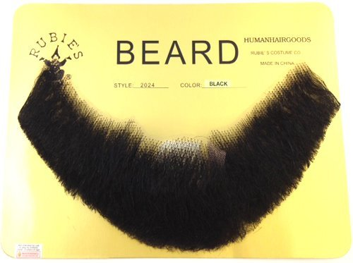 Full Character Beard BLACK - 100% Human Hair - no. 2024 Spirit Gum Included - REALISTIC! Perfect for Theater and Stage - Reusable! -