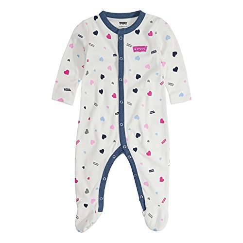 Levi's Baby Girls Long Sleeve Footed Coverall, Snow White Chambray, 9M