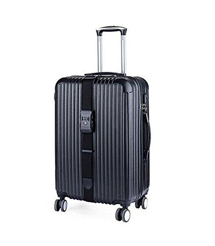 Jesica調節可能な荷物ストラップスーツケースベルトバンドwithロック – ブラック B076J7D3KY