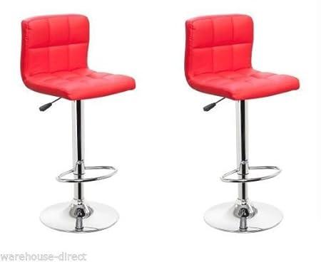 Empire 2 x sgabelli rossi da colazione bar in finta pelle sgabelli