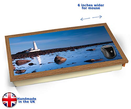 (KICO Lighthouse Rocks Coast Sea Seaside View Cushioned Bean Bag Laptop Lap Tray Desk - Built-in EMF Shield (Electro Magnetic Field) - Wood Effect Frame)