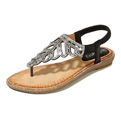 Womens Boho Flat Sandals,❤️ FAPIZI Girls Clip Toe Leaf Crystal Rome Shoes Casual Boho Beach Elastic Band Sandals Shoes ()