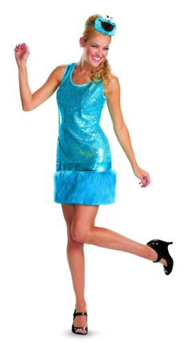Cookie Monster Halloween Costume Female (Disguise Sesame Street Cookie Monster Glam Deluxe Womens Adult Costume, Blue,)