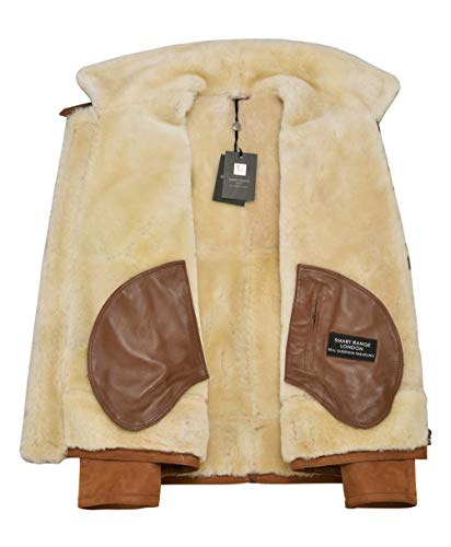 Men's B3 Shearling Jacket Sheepskin Leather Bomber Whisky