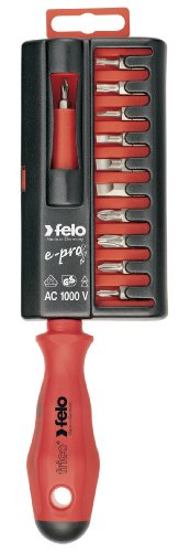 Felo 07157 53235 E-Pro Bit Holder with Slotted, Phillips and Square Bits