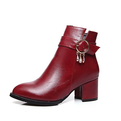 AdeeSu Heels Chunky Claret Boots Imitated Ladies Buckle Metal Chain Leather rxrCpSwqE