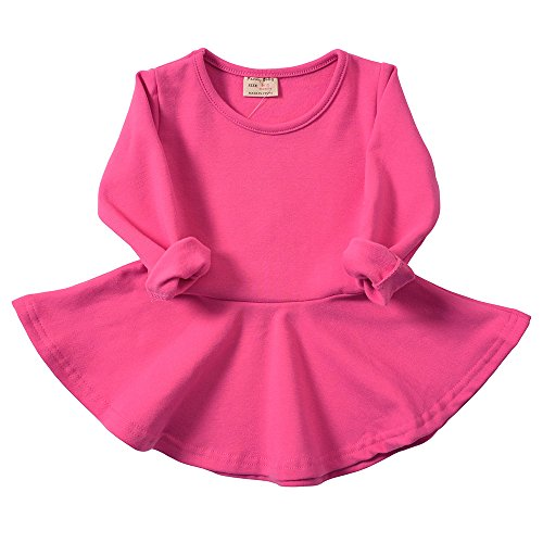 Infant Toddler Baby Girls Dress Cozy Ruffles Long Sleeves Cotton (3-4Year(4T), Rose)