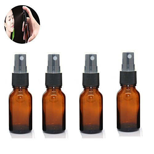 4 Pack 15 mL Amber Glass Bottles 1/2 oz Essential Oils Bottles with Black Fine Mist Spray Tops Perfect for Essential Oils, Perfume Oils,Lotions,Liquid Soaps (4 Pack)