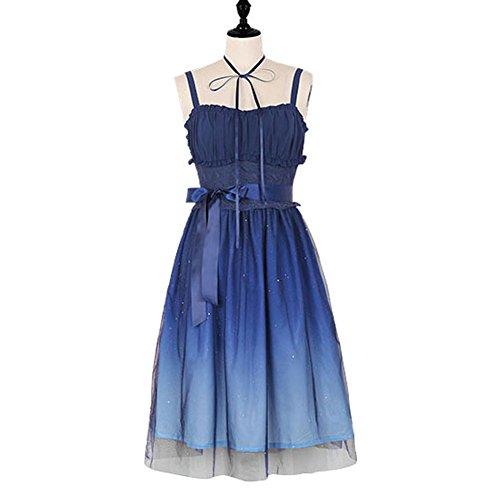BLESSI Women's Lolita Dark Night Sky Print Gradient Color Dress - Blue Gradient Dark