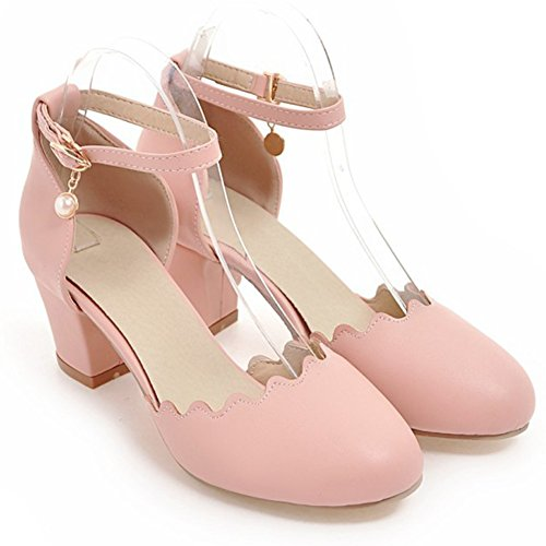 Aisun Womens Ronde Gesloten Teen Chic Elegant Geblokte Blok Hakken Enkelbandje Sandalen Schoenen Roze