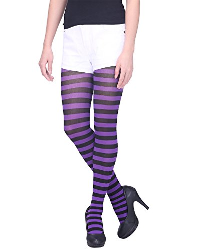 (HDE Women's Striped Tights Full Length Sheer Microfiber Nylon Footed Stockings (Black and Purple))