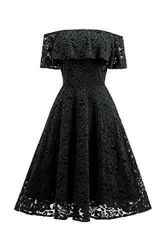 YACUN Damen Aus Schulter Spitzen Verstimmen Swing Party Kleid Black ...