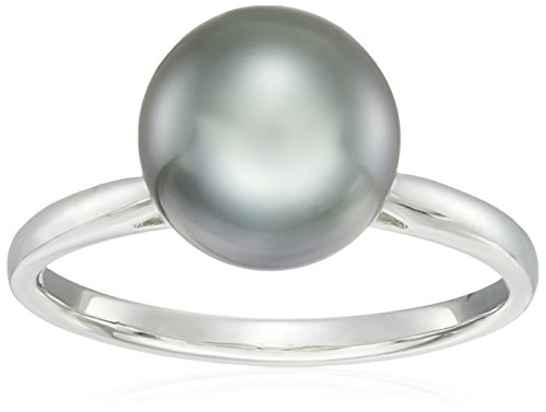 14k White Gold Double Pearl (14k White Gold Natural Color AA Quality Tahitian Cultured Pearl Ring, Size 7 (9-10mm))