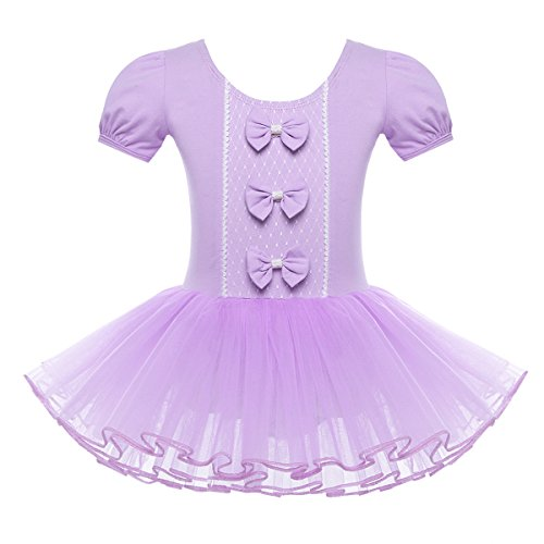 TiaoBug Girls Snow Queen Snowflake Princess Costumes School Embroidery Ballet Dance Tutu Dress (10-12, Lavender(Bowknots))