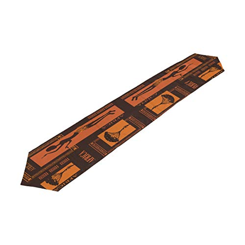 ALAZA Table Runner Home Decor,Abstract Pattern of African Women Polyester Table Runner Placemat for Wedding Party Coffee Table Mat Decoration 13 x 90 inches