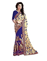 Nivah Fashion Women's Brasso & Net Embroidery Saree with Blouse Piece(K555)