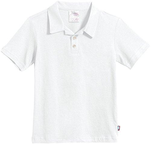 City Threads Boys Soft Jersey Short Sleeve 2-Button Polo Shirt, White, 6-9