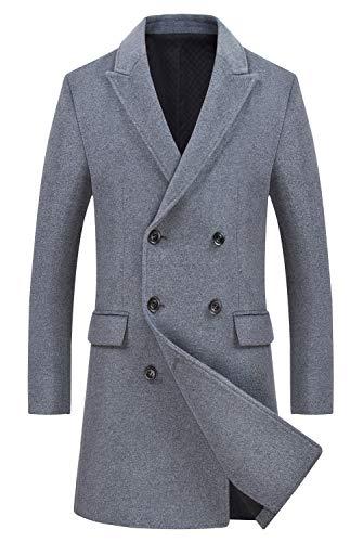 Men's Classic Wool Coats Double Breasted Trench Coat Windbreaker Jacket 1989 Gray XS