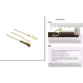 Dollhouse Miniature Broom and Mop 3 Piece Set (2 Brooms and 1 Mop)