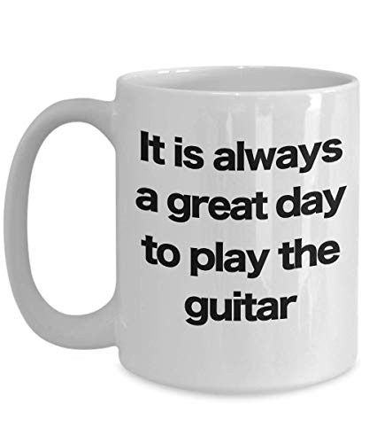 Guitar Mug - White Coffee Cup - Funny Gift for Musician Rock Star Band Performer Acoustic Electric Bass