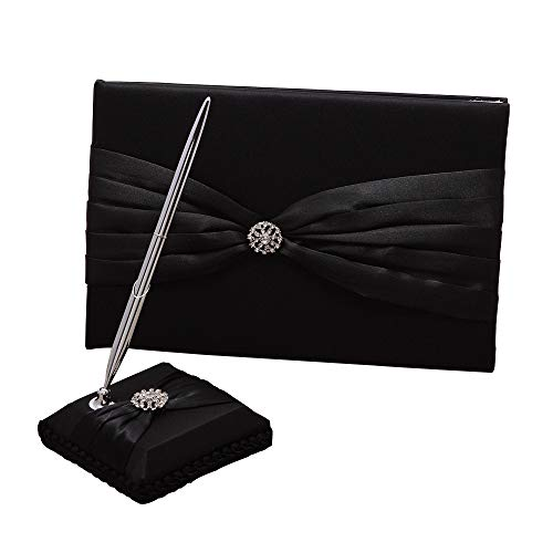 (KateMelon Wedding Accessories Satin Sash Guest Book and Pen Set, Black)